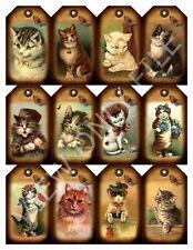 12 Primitive Cat Vintage Hang Tags Scrapbooking Paper Crafts (290)