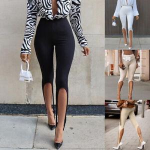 Womens Stirrup Style Calf Length Leggings Fashion Stretchy Skinny Pants Ribbed