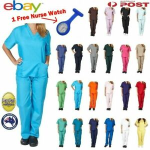 Female nursing scrub set TOP+PANT Uniform nurse vet medical surgical XXS  to 3XL