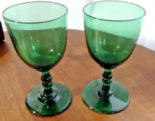 Antique Forest Green Georgian Glass Crystal Wine Goblets / Drinking Glasses
