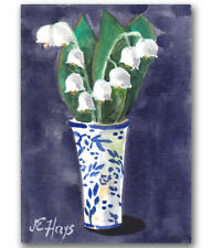 Lily of Valley in a Delft Vase ORIGINAL PAINTING Small Size Watercolor ACEO