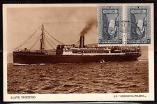 TURKEY ITALY 1933 LLOYD TRIESTINO STEAMSHIP POST CARD GALATA TO TRIESTINO