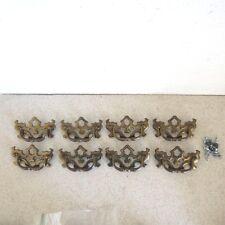 8 Large Vintage Chippendale Antique Brass Hardware Drop Handle Drawer Pulls