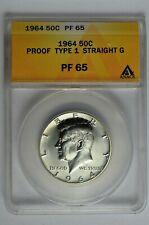 1964 50c Silver Proof Kennedy Half Dollar Type 1 Straight G ANACS PF 65