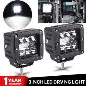 2X 3in LED Work Light Bar Spot Flood Combo Pods Driving Offroad SUV UTV ATV Fog