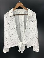 MINE Women's White with Black Polka Dots Tie Front Top Size L