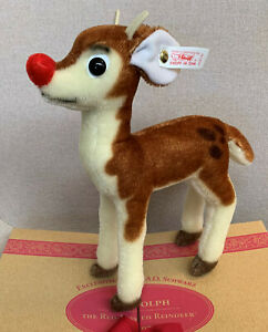 """Steiff F.A.O. Schwartz Exclusive """"Rudolph the Red Nosed Reindeer - Mint in  Box"""