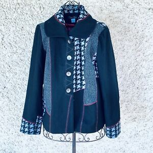 Jenny May Ladies Designer Lined Wool/Viscose Black White Red Jacket Size 18