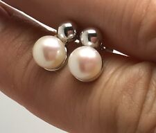 White/ Cream freshwater pearl stud earrings, ball, Solid Sterling Silver, New,