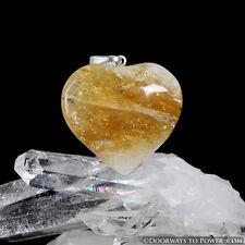 John of God Quartz Citrine Casa Crystal Heart Pendant Blessed and Energized