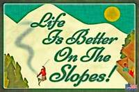 "RUSTIC SKI SIGN METAL 8""X12"" LIFE IS BETTER LOG CABIN LODGE DECOR SKIER VINTAGE"