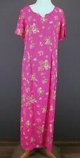 Vtg 90s APRIL CORNELL Dress L Pink Floral Shift Tie Back