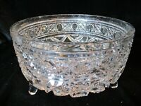 "AMERICAN BRILLIANT FOOTED BOWL STUNNING CUT 7 3/4"" WIDE 4 3/8"" TALL"