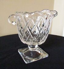 Indiana Clear Glass PRETZEL Pattern square Footed Creamer