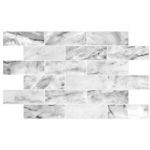 3D White Grey Marble Effect PVC Interior Wall Panels Kitchen Cladding