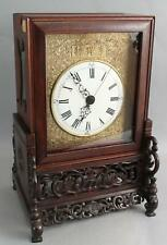 Antique 18/19thC Chinese Carved Teak Wood Bracket Clock Double Fusee Movement NR