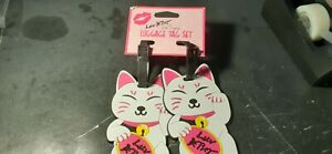 """BETSEY JOHNSON """"LUV BETSEY"""" KITTEN JUMBO LUGGAGE TAGS-SET OF 2  -NEW WITH TAGS"""