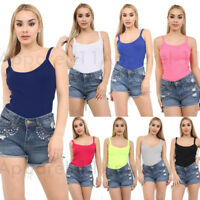 New Ladies Women's Summer Fitted Ribbed Vest Strappy Cami Top Plus Size UK 8-26