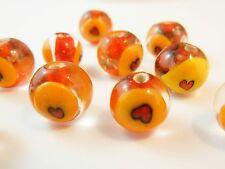 10Pc Lampwork Glass Handmade Heart Orange Gold Foil Glass Beads 11mm (L037)