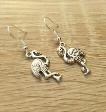 Silver Flamingo Earrings Bird Birds Flamingos Pink Drop Hook Colour