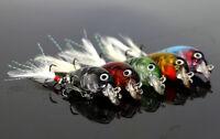 5pcs Fishing Lure Bass Baits Hard Crastal Minnow Crank baits Feather Hooks 4.5cm