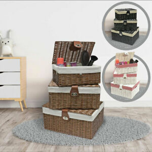 Set Of 3 Lined Wicker Basket Hamper With Lid Woven Xmas Storage Gift Box Resin