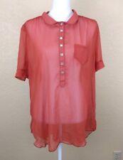 American Rag Womens Top Size 2X Short Sleeve Blouse Orange Button Down Sheer