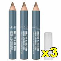 3x Rimmel Mens Brow & Beard Pencil - 001 Light, FREE SHIPPING