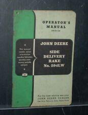 Original John Deere Model 594lw Side Delivery Rake Operators Manual Om E15 352