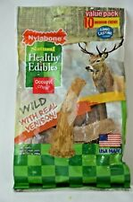 Nylabone Dog Treat Healthy Edibles Wild Antler Chews with Real Venison Lot of 2