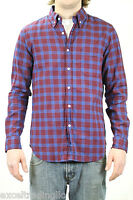 STEVEN ALAN Burgundy / Blue Plaid Single Needle Outside Pocket Shirt NEW $188