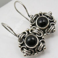 RETRO STYLE !! 925 Sterling Silver BLACK ONYX CHUNKY NICE Dangle Earrings 1.2""