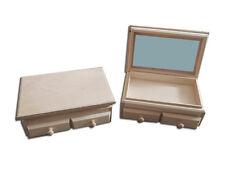 Pecho de madera sin tratar con 2 cajones con espejo Joyero/Para Decorar