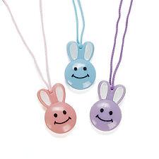 24 Easter Bunny Smiley Face Necklaces Egg Hunt Basket Filler Party Favor