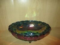 Indiana Carnival Glass Harvest Grape Blue Iridescent Oval Fruit Bowl