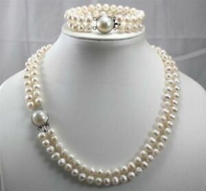 2 Rows 7-8MM White Freshwater Cultured pearls Necklace 18'' Bracelet 7.5'' Set