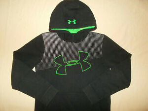 UNDER ARMOUR THREADBORNE BLACK HOODED SWEATSHIRT BOYS MEDIUM EXCELLENT