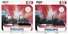 4x Philips 9005+H11 X-TremeVision 100% More Super Bright Light Upgrade Bulb 65W