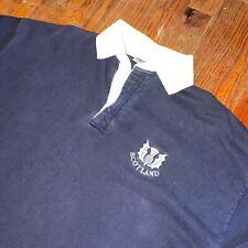 Vintage Scotland Rugby Polo Blue White Eastside Shirts Mens XL 100% Cotton Shirt