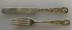 Justis & Armiger Sterling Silver Youth Fork And Knife Set 19th C.