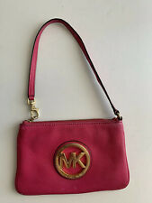 MICHAEL KORS MK Fulton PINK Leather Wristlet Clutch Wallet Case Pouch Logo