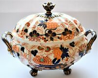 Antique Vintage English Porcelain Regency Imari Large Tureen Face Handle C.1830