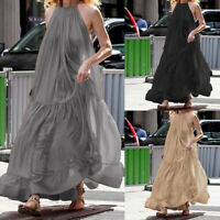 Women Ruffle Sleeveless Long Maxi Dress Summer Party Cocktail Swing Robe UK 8-26