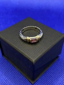 David Yurman Sterling Silver and 14k Gold Cable Design Ring with Amethyst, sz 7