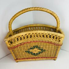 Vintage Wicker Basket With Carry Handle Shopping picnic storage retro woven