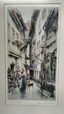 Paul Geissler Vintage Hand-Colored Etching~Signed~Germany -Town Shoemaker