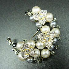 14k Gold GF pearls solid vintage brooch pin with Swarovski elements