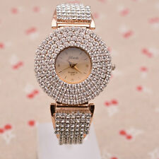 Luxury Sparkly Crystal Rose Goldtone Ladies Bangle Bracelet Quartz Watch Bling
