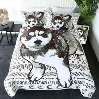 3D Siberian Husky Doona Duvet Cover Bedding Set Comforter Cover Pillow Case Dog