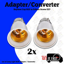 2X LAMP LIGHT BULB BAYONET CAP B22 TO EDISON SCREW E27 ADAPTER CONVERTER CE APPR